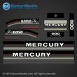 1986 1987 1988 Mercury 200 hp decals decal set 200hp