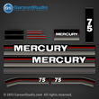 Mercury 75 hp decals 1990 decal set 75hp