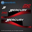 1999 2000 2001 2002 2003 2004 2005 2006 2007 MERCURY 250 hp 250hp Saltwater optimax fourstroke four stroke decal set red