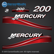 05 06 07 2005 2006 2007 200 hp 200hp Mercury FourStroke optimax decal set decals red